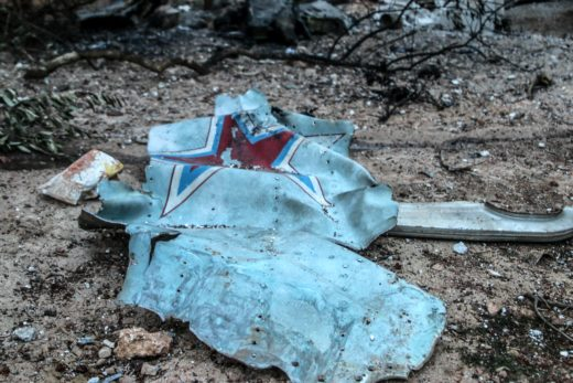 epaselect epa06494257 The rubble of the Russian Sukhoi Su-25 fighter jet scattered on the ground, in Ma'saran village near Saraqeb city, in Eastern Idlib countryside, Syria, 03 February 2018. According to the Syrian Observatory for Human Rights, Rebel fighters shot down the Russian warplane and captured the pilot, who was later killed after he fought the rebels. The Syrian government launched a military operation to regain control over Idlib from in December 2017 with support of Russian warplanes.  EPA/ABDALLA SAAD