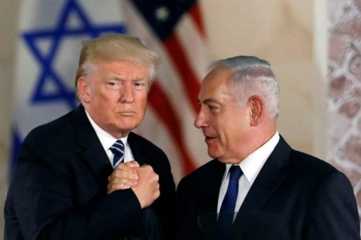 FILE PHOTO - U.S. President Donald Trump and Israeli Prime Minister Benjamin Netanyahu shake hands after Trump's address at the Israel Museum in Jerusalem